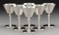 Silver Holloware, American:Cups, A Set of Six Tiffany & Co. Hamilton Pattern SilverCocktail Glasses, New York, circa 1925. Marks: TIFFANY &CO... (Total: 6 Items)