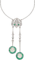 Estate Jewelry:Necklaces, Diamond, Emerald, Platinum Necklace. ...