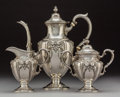 Silver Holloware, American:Coffee Pots, A Three-Piece Fisher Silversmiths, Inc. Victoria PatternCoffee Service, Jersey City, New Jersey, circa 1940. Ma... (Total:3 Items)