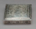 Asian:Other, A Persian Silver Box, possibly Isfahan, first half 20th century .Marks: 84, (undeciphered). 1 x 4-7/8 x 4-7/8 inches (2...