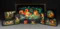 Decorative Arts, Continental:Other , A Collection of Nine Russian Lacquered Boxes, 20th century . Marks:(various). 3-5/8 x 16 x 10-3/4 inches (9.2 x 40.6 x 27.3... (Total:9 Items)