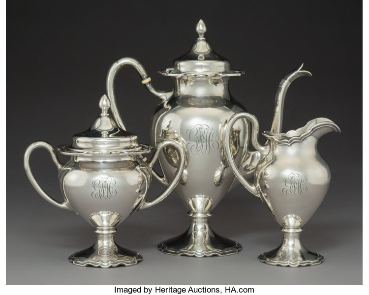 Silver Holloware American Tea Sets A Three Piece Shreve Co