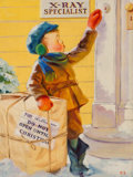 Paintings, Russell Sambrook (American, 1891-1956). Christmas Peeking. Oil on canvasboard. 14.5 x 11 in. (image). Initialed lower ri...