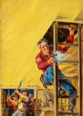 Paintings, Norman Saunders (American, 1907-1989). Sheriff Bait, 10 Story Western Magazine cover, November 1950. Oil on board. 20.75...