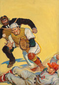 Paintings, Vince (American, 20th Century). Sliding Home, Sports Novels magazine cover, October 1940. Oil on canvas. 30 x 21 in.. Si...