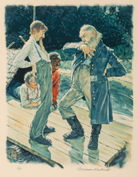 Norman Rockwell (American, 1894-1978) Huckleberry Finn, 1972 Complete portfolio of eight lithographs