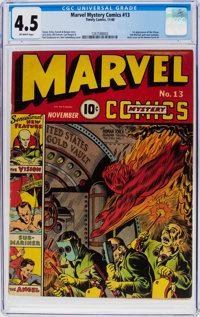 Marvel Mystery Comics #13 (Timely, 1940) CGC VG+ 4.5 Off-white pages