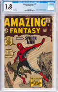 Silver Age (1956-1969):Superhero, Amazing Fantasy #15 (Marvel, 1962) CGC GD- 1.8 Cream to off-white pages....