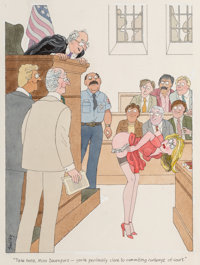 """Smilby (Francis Wilford Smith) (American, 1927-2009) """"Take Heed, Miss Davenport - You're Perilously Close to Co"""