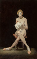 Paintings, Robert McGinnis (American, b. 1926). Needlepoint. Oil on board. 24 x 15 in.. Signed lower right. ...