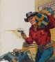 Norman Saunders (American, 1907-1989) Loose Tongues - Mean Hot Triggers, 10 Story Western Magazine cover, July 1950 Oi...