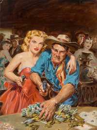 Norman Saunders (American, 1907-1989) All In, Star Western Magazine cover, February 1953 Oil on boar