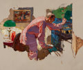 Paintings, Dean Cornwell (American, 1892-1960). Quiet Down There!, probable magazine interior illustration, 1927. Oil on canvas. 25...