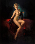 Paintings, Gil Elvgren (American, 1914-1980). Vision of Beauty (Unveiling), 1947. Oil on canvas. 36 x 28 in.. Signed lower right. ...