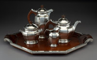 A Five-Piece Tetard Freres Art Deco Silver and Hardwood Tea and Coffee Service, Paris, circa 1930 Marks: T F RE