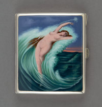 A German Silver and Enameled Cigarette Case Depicting Amphitrite Laying on Breaking Waves, early 20th century Mark