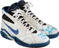 Basketball Collectibles:Others, 1993-94 Reggie Miller Game Worn & Signed Sneakers.... (Total: 2 items)