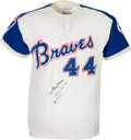Baseball Collectibles:Uniforms, 1972 Hank Aaron Game Worn & Signed Atlanta Braves Jersey....
