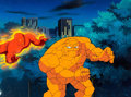 Animation Art:Production Cel, Fantastic Four Human Torch and The Thing Production Cel and Background Setup with Animation Drawing (Marvel Films, 199... (Total: 3 Items)