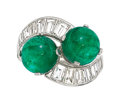 Estate Jewelry:Rings, Emerald, Diamond, Platinum Ring, Bvlgari. ...