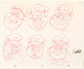 animation art:Model Sheet, Fritz the Cat Pig Cop #2 Model Sheet Original Art (Ralph Bakshi, 1972)....