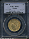 Indian Eagles: , 1908-D $10 Motto AU50 PCGS. Yellow-gold surfaces display someflatness on the eagle's wing shoulder, and several minute mar...