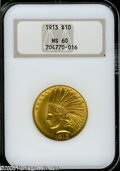 Indian Eagles: , 1913 $10 MS60 NGC. Adequately struck, with bright yellow-goldsurfaces showing light contact marks, mostly on the eagle....