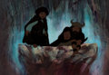 Animation Art:Production Cel, The Lord of the Rings Frodo, Aragorn, and Boromir ProductionCel and Key Master Background (Ralph Bakshi, 1978).... (Total: 2 )