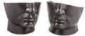 Furniture , A Pair Carved Black Marble Half Face Chairs. 26-1/2 x 27-1/2 x 28 inches (67.3 x 69.9 x 71.1 cm) (each). ... (Total: 2 Items)