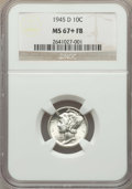 Mercury Dimes: , 1945-D 10C MS67+ Full Bands NGC. NGC Census: (385/13 and 9/0+). PCGS Population: (348/6 and 30/0+). CDN: $150 Whsle. Bid fo...