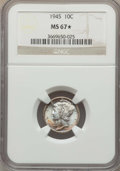 Mercury Dimes: , 1945 10C MS67 ★ NGC. NGC Census: (1071/2 and 6/3*). PCGS Population: (285/1 and 6/3*). CDN: $50 Whsle. Bid for proble...