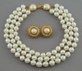 Jewelry:Suites, A Three-Piece Chanel Gold-Tone and Faux Pearl Jewelry Suite. Marks: CHANEL, (logotype), MADE IN FRANCE. 16-1/4 inche...
