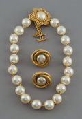 Decorative Arts, Continental, A Three-Piece Chanel Gold-Tone and Faux Pearl Jewelry Group. Marks:CHANEL, (logotype), MADE IN FRANCE. 18-1/2 inche...
