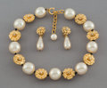 Jewelry:Suites, A Three-Piece Chanel Gold-Tone and Faux Pearl Jewelry Suite. Marks: CHANEL, (2-logotype-3), MADE IN FRANCE. 18 inche...