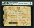 Colonial Notes, Virginia July 17, 1775 £5 PMG Choice Fine 15.. ...