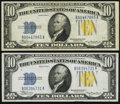 Small Size, Fr. 2309 $10 1934A North Africa Silver Certificates. Two Examples. Very Fine.. ... (Total: 2 notes)