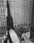Photographs:Gelatin Silver, Berenice Abbott (American, 1898-1991). Trinity Church and WallStreet Towers, 1934. Gelatin silver, printed later. 9-1/2...