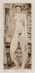 Fine Art - Work on Paper:Print, Milton Avery (1885-1965). Young Nude Girl, 1935. Drypoint onwove paper. 9-7/8 x 4-1/4 inches (25.1 x 10.8 cm) (image). ...