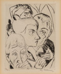 Fine Art - Work on Paper:Print, Max Beckmann (1884-1950). Zweite Illustration zu Kapitel 4,from Die Fürstin, 1917. Drypoint on laid Holland paper. ...