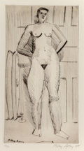 Prints & Multiples, Milton Avery (1885-1965). Standing Nude, 1941. Drypoint on wove paper. 14-1/4 x 7-3/4 inches (36.2 x 19.7 cm) (image). 1...