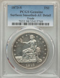 Trade Dollars, 1873-S T$1 -- Surfaces Smoothed -- PCGS Genuine. AU Details. NGC Census: (2/96). PCGS Population: (15/173). CDN: $450 Whsle...