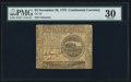 Continental Currency November 29, 1775 $4 PMG Very Fine 30