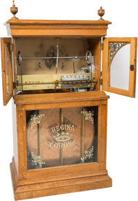A Large Floor Model Regina Corona Quartersawn Oak Coin-Operated Disc Music Box, Rahway, New Jersey, early 20th centu