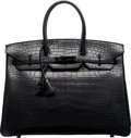 Luxury Accessories:Bags, Hermes Limited Edition 35cm So Black Matte Alligator Birkin Bag with PVD Hardware. N Square, 2010. Condition: 2. 1...