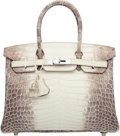 Luxury Accessories:Bags, Hermes 30cm Matte White Himalayan Nilo Crocodile Birkin Bag with Palladium Hardware. R Square, 2014. Condition: 2. ...