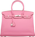 "Luxury Accessories:Bags, Hermes 35cm 5P Bubblegum Pink Togo Leather Birkin Bag with Palladium Hardware. N Square, 2010. Condition: 1. 14"" W..."