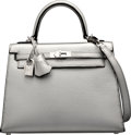 Luxury Accessories:Bags, Hermes 25cm Limited Edition Metallic Silver Chevre Leather SellierKelly Bag with Palladium Hardware. I Square, 2005....