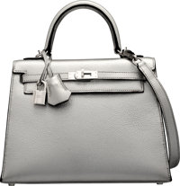 Hermes 25cm Limited Edition Metallic Silver Chevre Leather Sellier Kelly Bag with Palladium Hardware I Square
