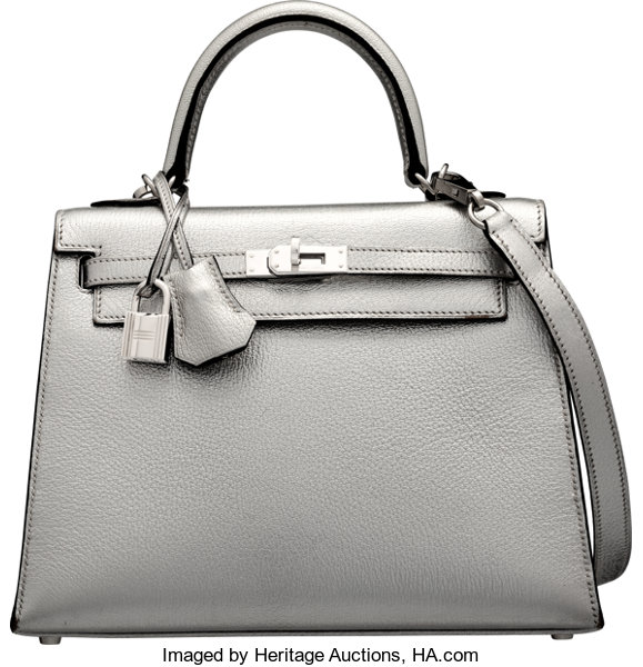 d7ffbe244795 Hermes 25cm Limited Edition Metallic Silver Chevre Leather