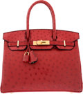 Luxury Accessories:Bags, Hermes Special Order Horseshoe 30cm Rouge Vif Ostrich Birkin Bag with Brushed Gold Hardware. A, 2017. Condition: 1. ...